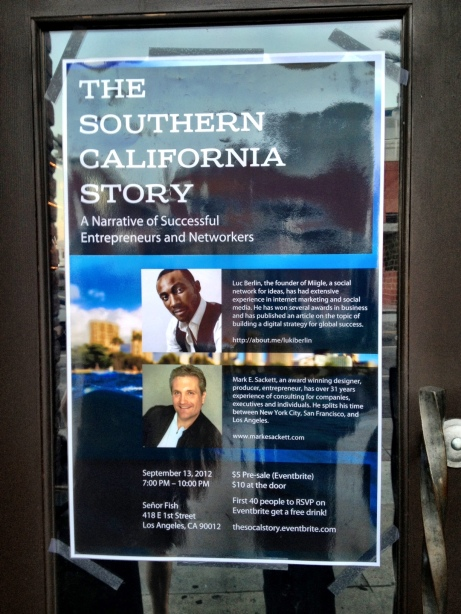 The Southern California Story Networking Event Poster